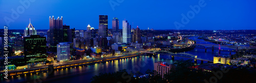 This is the Allegheny and Monongahela Rivers where they meet the Ohio River at dusk Wallpaper Mural