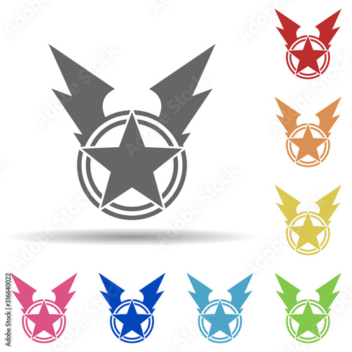 Photo War star in multi color style icon