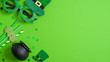Leinwandbild Motiv St Patricks day banner design. Top view pots of gold, drinking straws with shamrock four leaf clover, leprechaun hat and Patricks day glasses on green background. Saint Patrick's day greeting card