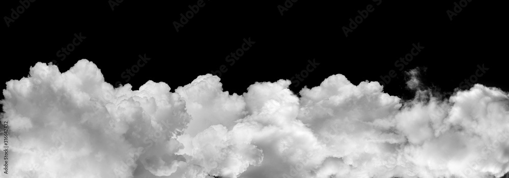 Fototapeta  clouds or smoke isolated on black background