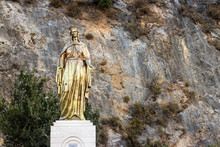 A Wide Shoot From Golden Virgin Mary Statue - Detailed And Nice Looking