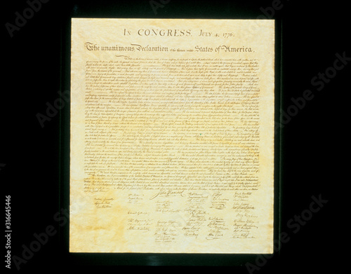 This shows the original Declaration of Independence in its entirety written on its now faded parchment paper Canvas Print