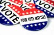 Leinwandbild Motiv collection of election campaign vote pins on white