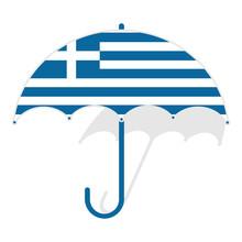 Gereece Flag Umbrella. Weather Symbols. National Flag Of Gereece Vector Illustration