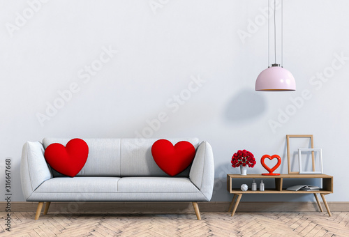 Obraz living room and sofa interior design 3D illustration, valentine. - fototapety do salonu