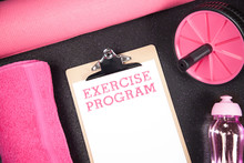 Exercise Program In Pink With Copy Space Female Concept