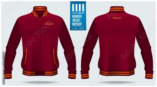 Zipped bomber jacket mockup template design for soccer, football, baseball, basketball, sports team or university. Front view, back view for jacket uniform. Vector Illustration.