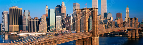This is a close up of the Brooklyn Bridge over the East River Canvas Print
