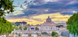 A view along the Tiber River towards St. Peter's Basilica and the Vatican in Rome, Italy.