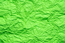 Green Crumpled Paper Background Or Texture In Detail