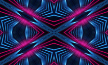 Dark Neon Background With Lines And Rays. Blue And Pink Neon. Abstract Futuristic Background. Night Scene With Neon, Light Reflection. Neon Lines, Shapes. Multi-colored Glow, Blurry Lights.