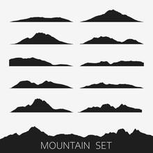 Set Of Mountains Silhouettes. ...