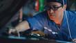 car mechanic checking and having car maintenance service at garage and service station