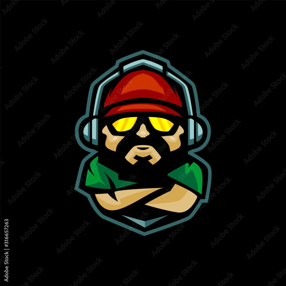 Fototapeta gamer with headphone and snap back mascot logo