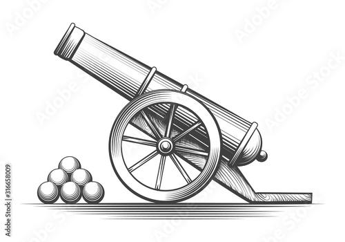 Cannon weapon firing Fototapete