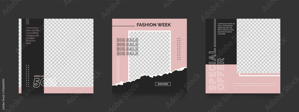 Fototapeta social media post template for digital marketing and sale promo. fashion advertising. banner offer. pink and black color. promotional mockup photo vector frame illustration.
