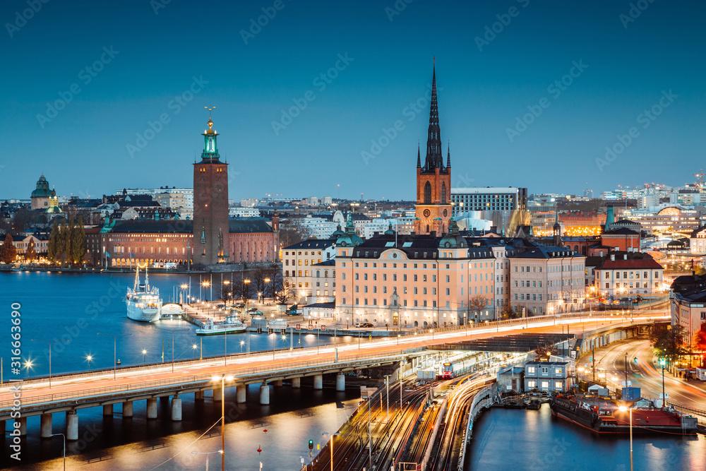 Fototapeta Stockholm skyline panorama at twilight, Sweden, Scandinavia
