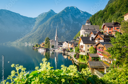 Classic view of Hallstatt in summer, Austria Canvas