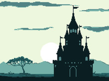 Pixel Castle For Games And Web Sites. Castles And Fortresses Vector Icons. Pixel Art. Old School Computer Graphic Style.8 Bit.