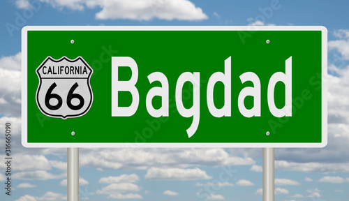 Rendering of a green 3d highway sign for Bagdad California on Route 66 Fototapet
