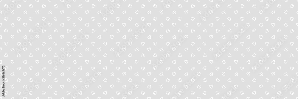 Fototapeta Background with hearts. Seamless monochrome wallpaper on surface. Black and white illustration. Print for polygraphy, banners and textiles. Doodle for your design