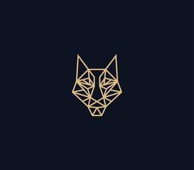abstract wolf head logo design template , line art logo illustrations