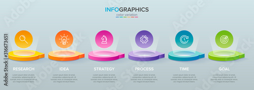 3d isometric Concept of arrow business model with 6 successive steps. Six colorful graphic elements. Timeline design for brochure, presentation. Infographic design layout