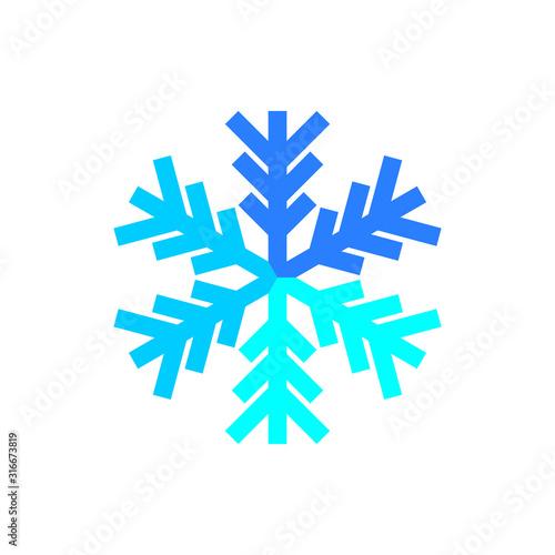Fototapeta Blue snowflake icon vector on white background. obraz na płótnie