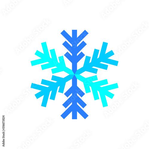 Fototapeta Blue snowflake symbol vector on white background. obraz na płótnie
