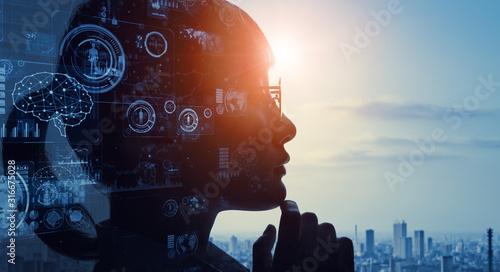 Obraz 人とテクノロジー - fototapety do salonu