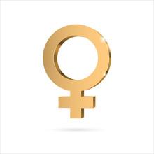 Female Gender Symbol Venus. Gold 3d Symbol. Vector Illustration.