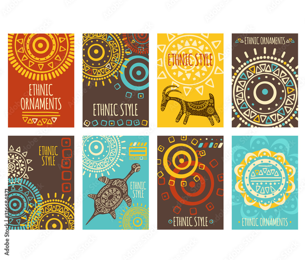 Fototapeta Set of ethnic banners