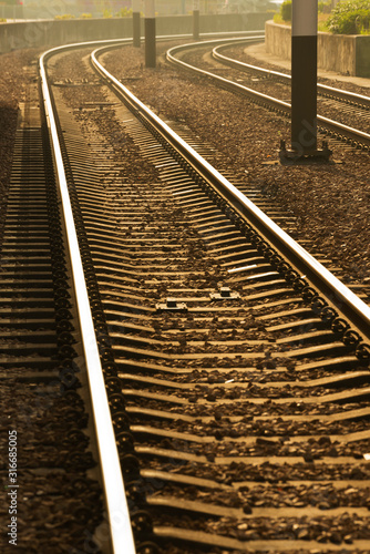 Fotografía Close up of empty straight railroad track