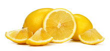 Chopped Lemon Fruit Isolated O...