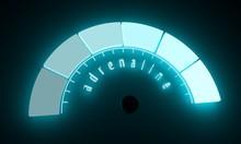 Hormone Adrenaline Result. The Measuring Device. Infographic Gauge Element. Flash Light Indicator. Neon Shine Scale. 3D Rendering