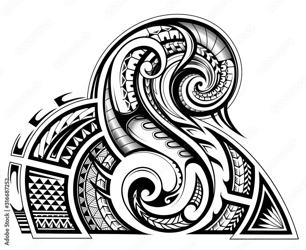 Fototapeta Shoulder and sleeve tattoo design in tribal art style