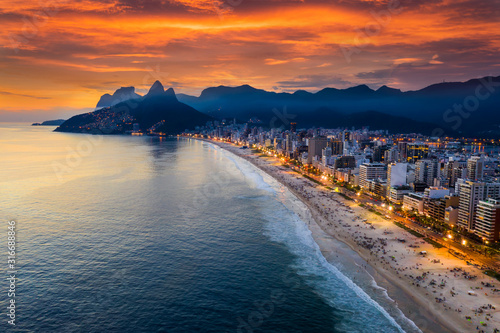 Beautiful panorama of Rio de Janeiro at twilight, Brazil Wallpaper Mural