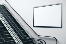 Escalator In Concrete Metro Interior
