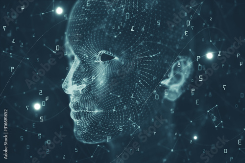 Obraz na plátně Artificial intelligence and mind backdrop