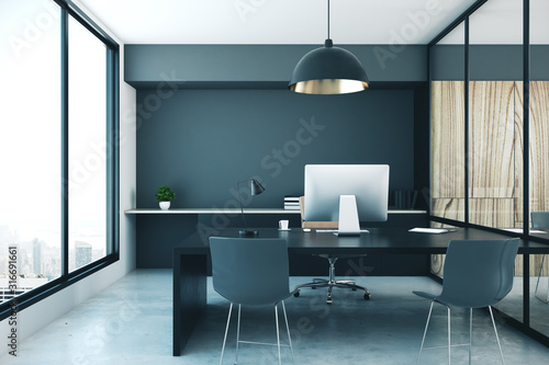 Obraz Contemporary office room interior with computer - fototapety do salonu