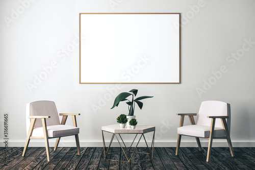 Living interior with two chair,