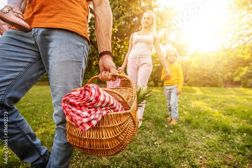 Cheerful family on vacation enjoying outdoors
