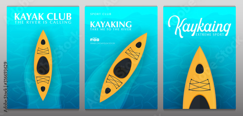 Fotografía Set of Kayaking banners with top view on the yellow kayak