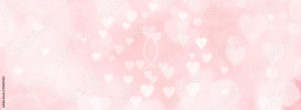 Fototapeta Abstract pink background with hearts and wedding rings - concept wedding, marriage, love