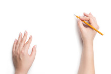 Female Hands Holding Pencil, I...