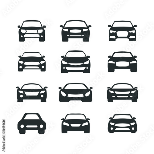 Car vector icons set. Isolated simple view front logo illustration. Sign symbol. Auto style car logo design with concept sports vehicle icon silhouette