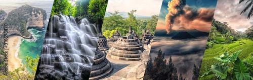 Fotografía  Indonesia famous landmarks collage
