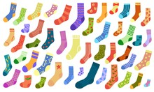 Hand Drawn Sock Collection. Doodle Socks With Different Texture And Color. Winter Trendy Clothing Items
