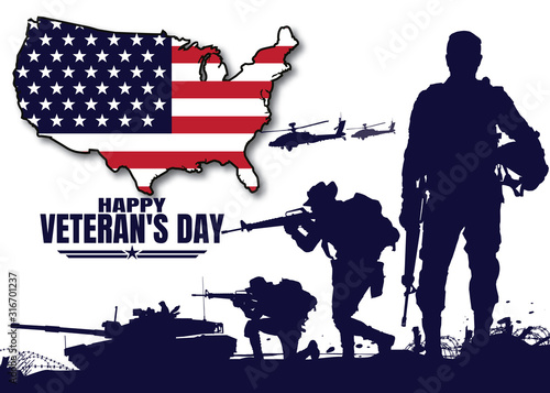 Happy veteran's day, Military vector illustration, Army background, soldiers silhouettes Canvas Print