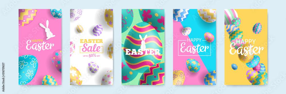 Fototapeta happy easter vertical banners set for social media mobile app stories design